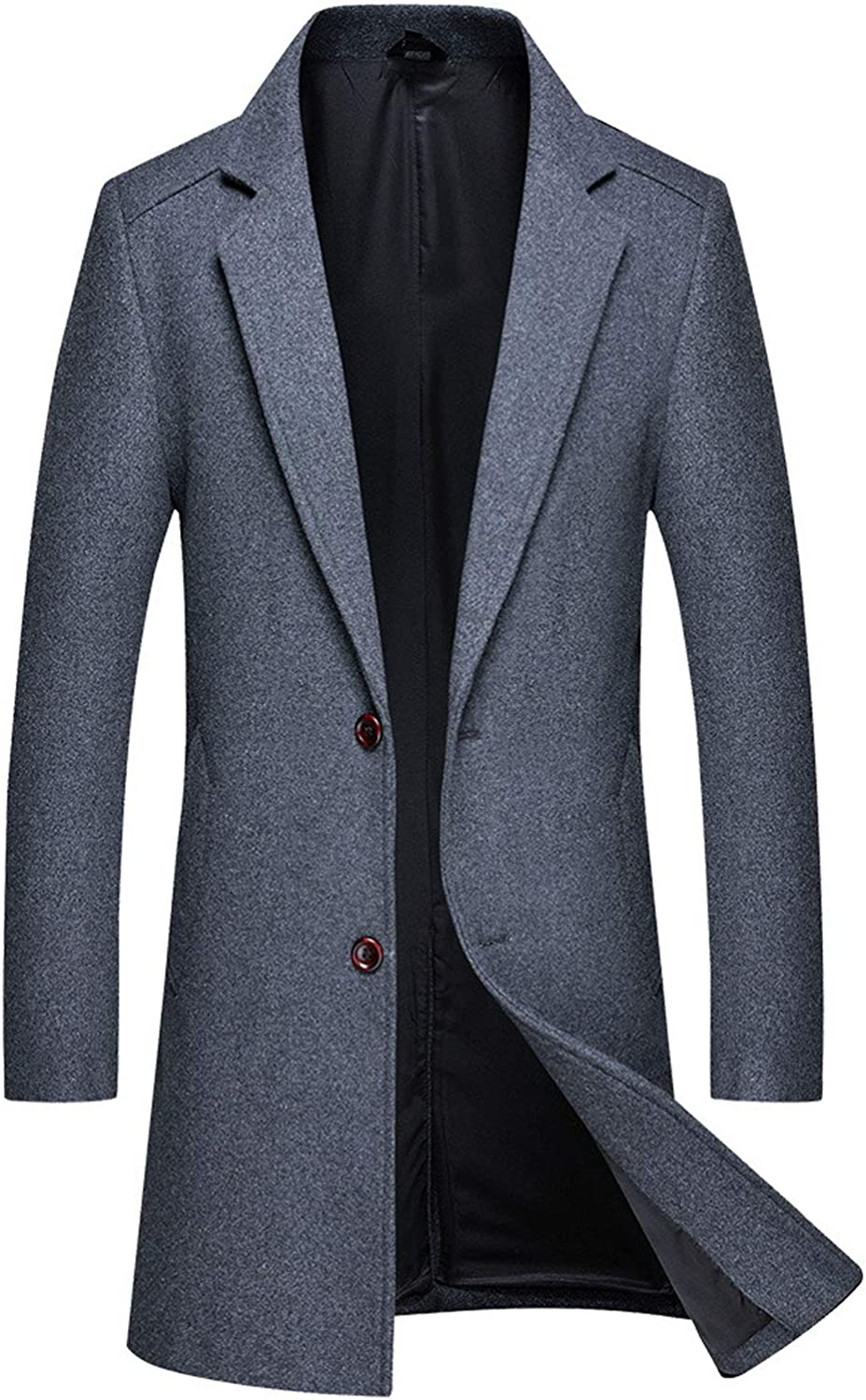 ebossy Men's Formal 2 Button Notched Collar Slim Wool Blend Top Coat