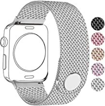 Compatible for Apple Watch Band 38mm 40mm 42mm 44mm, Stainless Steel Mesh Wristband Magnetic Loop Magnet Band Compatible with Iwatch Series 5/4/3/2/1 (Silver, 38mm/40mm)