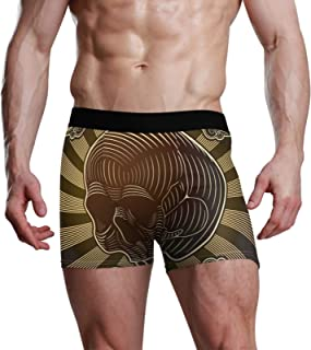 NaiiaN Bulge Pouch Slip da Uomo Skull Art Brown Vintage Stretch Boxer Trunk