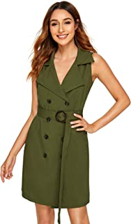 Women's Elegant Button Double Breasted Belted Jacket Blazer Dress
