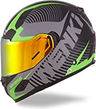 NENKI Helmets NK-856 Full Face Motorcycle Helmets DOT Approved With Iridium Red Visor and Inner Sun Shield,Fiberglass Shell (L,Matt Black & Green)