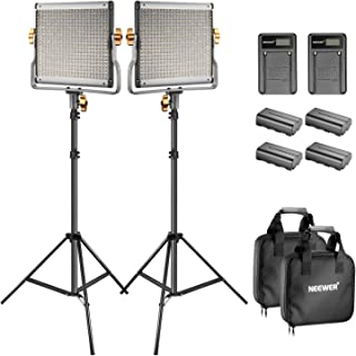 Neewer Bi-Color LED 480 Kit de Luces Video y Soporte con Batería y Cargador para EstudioYoutube Video FilmaciónMarco de Metal DurableRegulable con Soporte en U y Barndoor3200-5600KCRI 96+