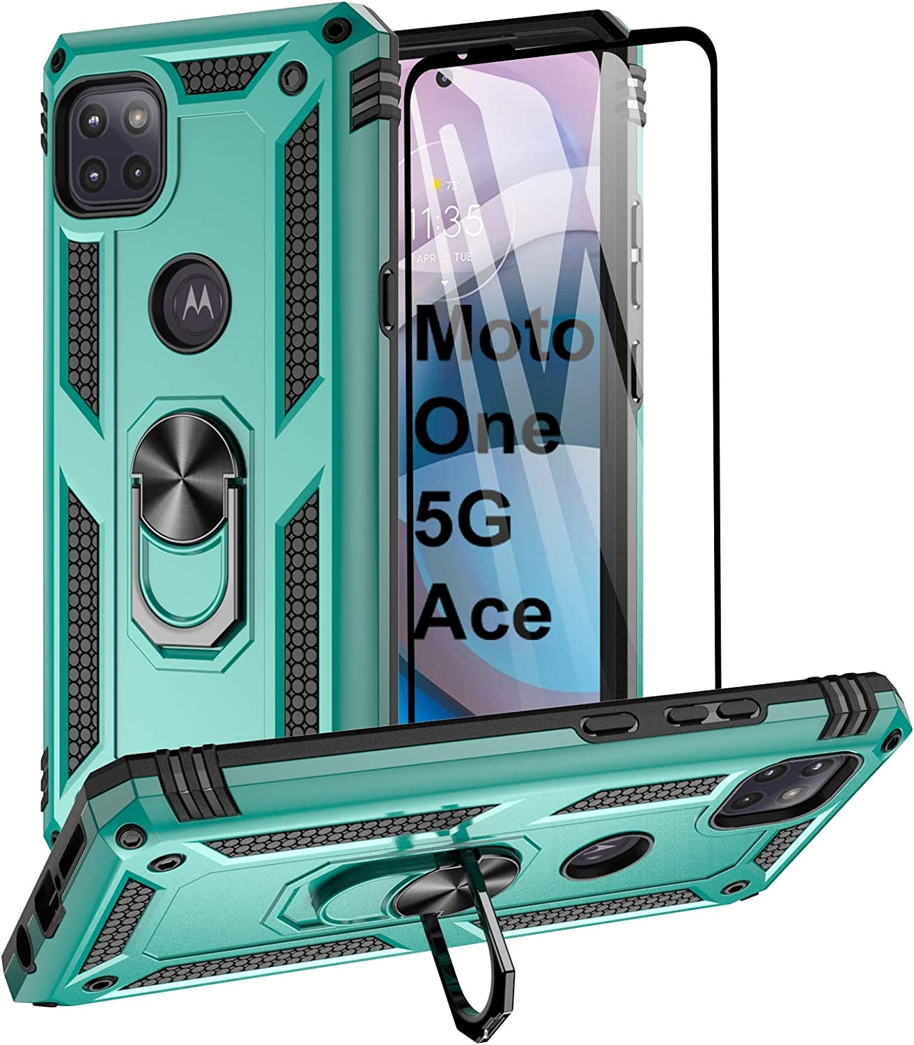 Aliruke Moto One 5G Ace/Moto G 5G Case with Tempered Glass Screen Protector and Grip Ring Kickstand, Military Grade Cover Magnetic Finger Loop Stand Phone Cases for Motorola Moto One 5G Ace, Mint
