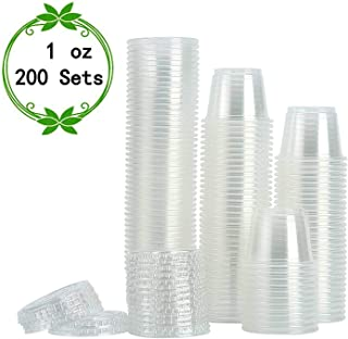 [200Sets-1oz]Small Plastic Containers with Lids,Plastic Cups with Lids,Jello Shot Cups,Souffle Cups,Condiment Sauce Cups
