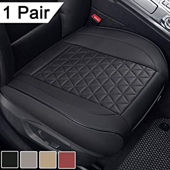 Fly Duck 2pc PU Leather Front Car Seat Cover Cushion Edge Wrapping Bottom Protector with Non-Slip Bottom /& Storage Pockets for Auto Supplies Office Chair Black