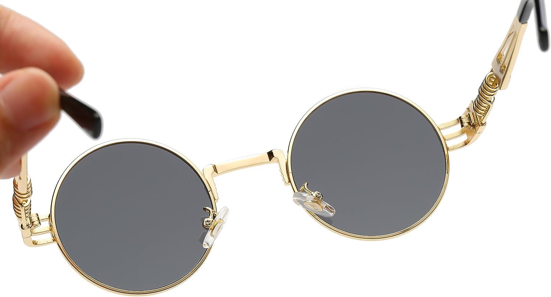 Dollger John Lennon Vintage Steampunk Lunettes de Soleil Femmes Hommes Rondes Hippie Lunettes de Soleil UV400 Cadre en M/éTal