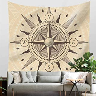 YOLIYANA Compass Useful Tapestry,Vintage Exploration Windrose Design with Tan Background Abstract Elements Theme Decorative for Dormitory,30