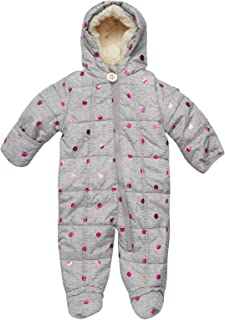DKNY Baby Girls' Snowsuit – Quilted Fleece Puffer Jacket Pram Jumpsuit (Newborn/Infant)
