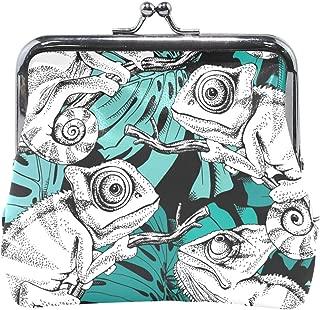 Women Wallet Purse Animal Seamless Pattern Chameleon Clutch Bag Leather