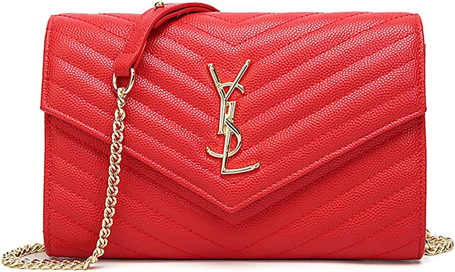 Fashion Crossbody Bag for Women Leather Quilted Shoulder Purse with golden Chain Strap (Red)