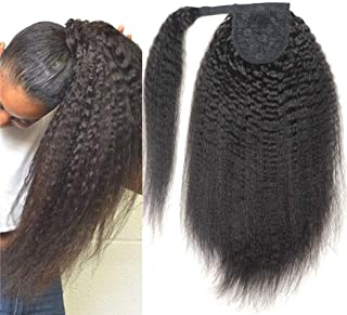 150g/pcs 18inch Afro Kinky Straight Ponytail,Sissi's Fashion Hair Yaki Straight Wrap Around Ponytail New Style Hairpieces Heat Resistant Synthetic Clip In Ponytail Hair Extension (1B)