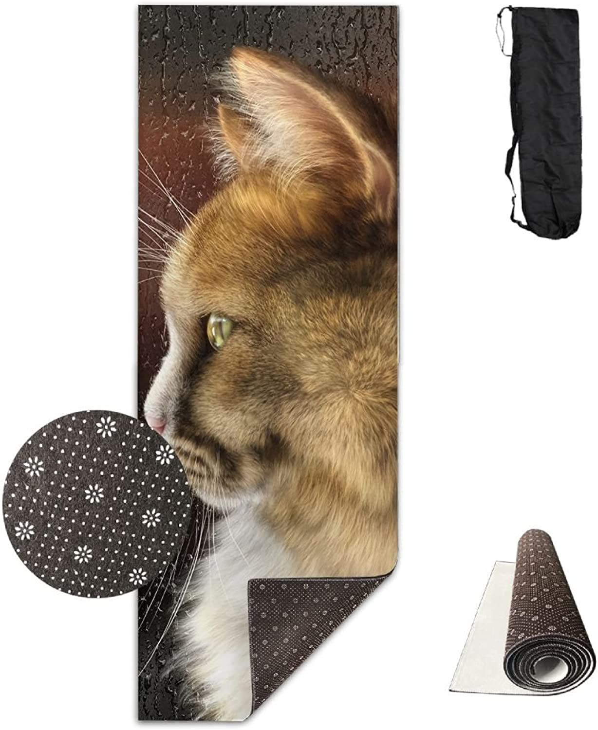 Non Slip Yoga Mat Cats Look Window Premium Printed 24 X 71 Inches Great For Exercise Pilates Gymnastics Carrying Strap