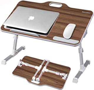 Kavalan Large Size Portable Laptop Table with Handle, Height & Angle Adjustable Sit and Stand Desk, Bed & Breakfast Table ...