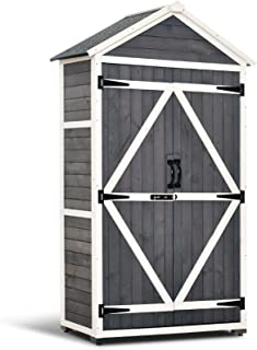MCombo Outdoor Storage Cabinet Tool Sheds Backyard Garden Utility Wooden Organizer with Lockable Double Doors 1000 (Grey)