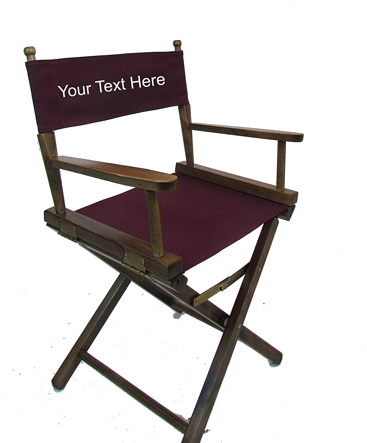 Personalized Imprinted Gold Medal Contemporary 18 Table Height Walnut Frame Directors Chair Burgundy