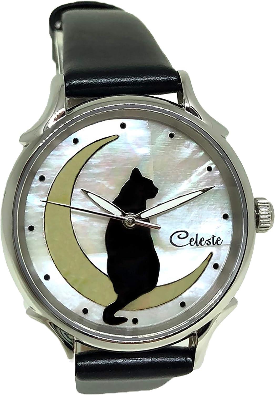 New color Celeste La Luna Black Cat on Swiss NEW before selling The Moon Women's Quartz Watch