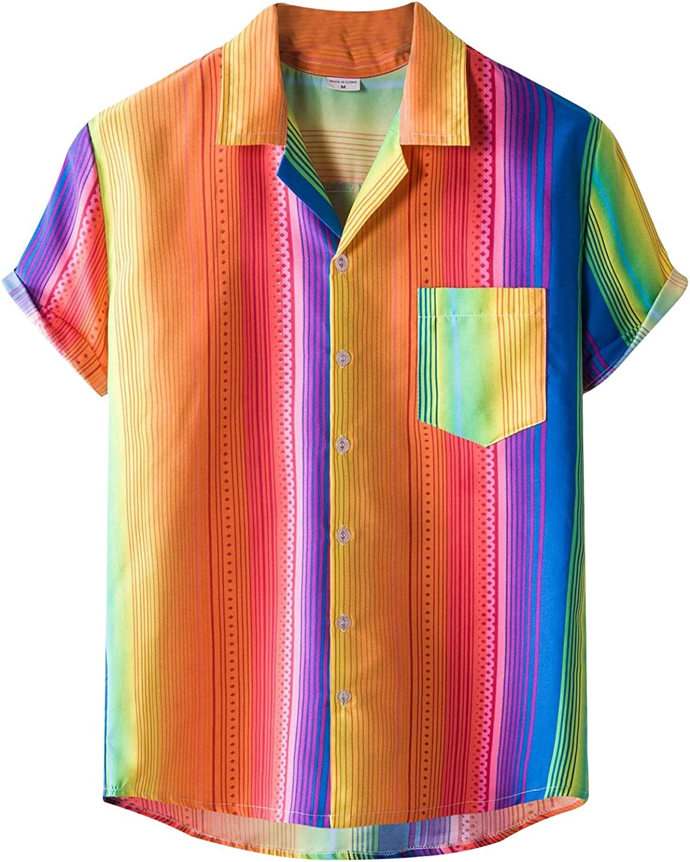 RIZI 2021 Men's Short Sleeve Printed Hawaiian Casual Button Down Flower Beach Party Holiday