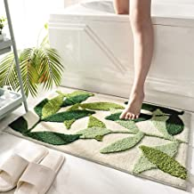 "Throw Bathroom Rugs and Mats 20""x32"" Green Bath Rug Non Slip Machine Washable Soft Bathroom Floor Mat for Entrance, Leaves"