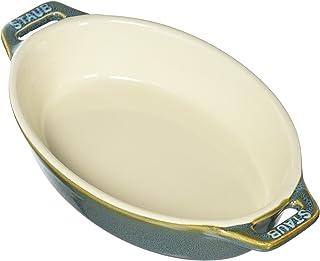 STAUB Ceramics Oval Baking Dish, 6.5-inch, Rustic Turquoise