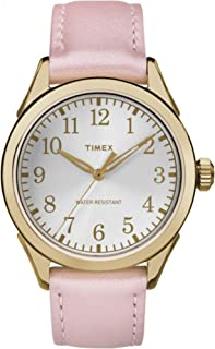 Timex Women's Briarwood Terrace | Pink Leather Strap Silver-Tone Dial TW2P99100