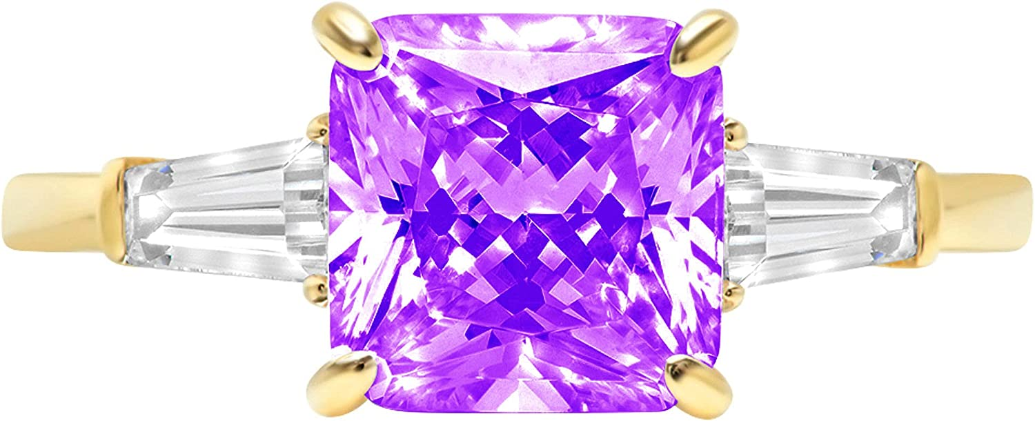 3.50ct Asscher Baguette cut 3 stone Solitaire with Accent Natural Purple Amethyst Gem Stone Ideal VVS1 Engagement Promise Statement Anniversary Bridal Wedding Ring 14k Yellow Gold