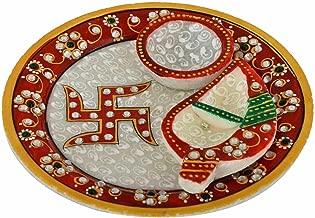 Marble Meenakari Puja Plate with Tilak Small Plate & Diya Best for Rakhi Diwali Home Temple 6 Inch | Home Decor | Handmade by Awarded Indian Rural Artisan