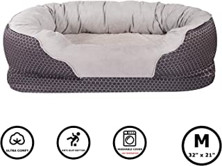 Pet Deluxe Dog and Puppy Bed, Grooved Orthopedic Foam Beds with Removable Washable Cover, Ultra Comfort, Padded Rim Cushion, Nonslip Bottom, for Dogs/Puppies
