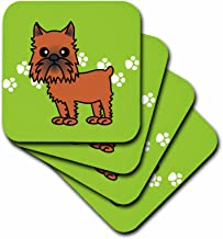 3dRose cst_31201_1 Cute Brussels Griffon Cropped Ears Green with Pawprints-Soft Coasters, Set of 4