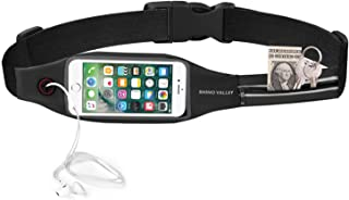 Running Belt Waist Pack, Rhino Valley Sports Fanny Fitness Workout Belt, Water Resistant Bag, Dual Pocket with Clear Touch Screen Window for iPhone X/8/7 Plus, Galaxy Note 8/S9 Plus
