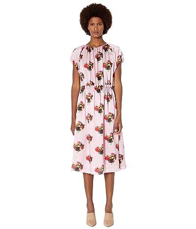 Adam Lippes Printed Hammered Silk Short Sleeve Ruffle Waist Dress (Pink Floral) Women