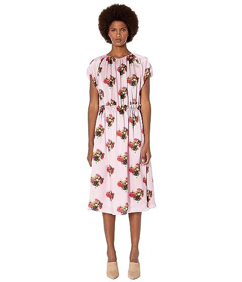 Adam Lippes Printed Hammered Silk Short Sleeve Ruffle Waist Dress