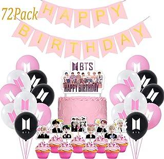 Jimiston BTS Birthday Party Supplies – 30 BTS Globos / 40 toppers para cupcakes / 1 decoración para tarta de cumpleaños / ...