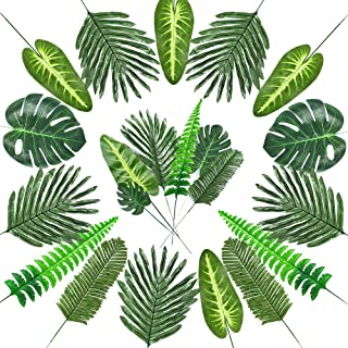 Auihiay 72 Pieces 7 Kinds Artificial Tropical Palm Leaves with Stems Tropical Leaves Faux Jungle Leaves for Hawaiian Party Decorations Luau Jungle Party Decorations Baby Shower Theme Decorations