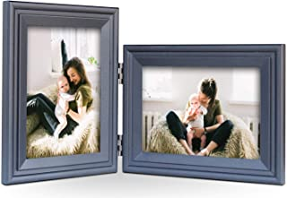 JD Concept Vertical Horizontal Combo, Double 4x6 Black Wood Hinged Photo Picture Frame, Desk-top or Wall Mounted, Portrait and Landscape View