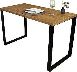 POKAR Mesa De Comedor Mesa De Cocina Mesa De Comedor Sólida con Patas De Metal Negro 120 x 60 cm Roble Artesanal Dorado
