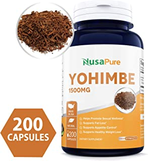 Yohimbe Bark 1500mg 200caps (Non-GMO & Gluten Free) Natural Stamina, Endurance and Strength Booster - Fortifies Metabolism - Promotes Healthy Weight Loss