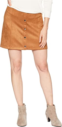 365ddb274a20 Jack by bb dakota caliyn scuba faux suede skirt with floral patches ...