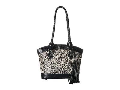 Patricia Nash Tooling Zorita Satchel (Sunflower/ Black/White) Satchel Handbags