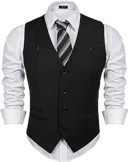 Men's Top Designed Sleeveless Casual Slim Fit Skinny Dress Vest Waistcoat, Black, Small