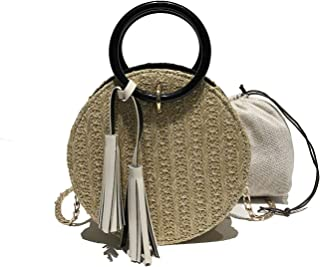 Handwoven Round Rattan Bag Shoulder bags Small Straw Bag Beach Shoulder Bag for Women