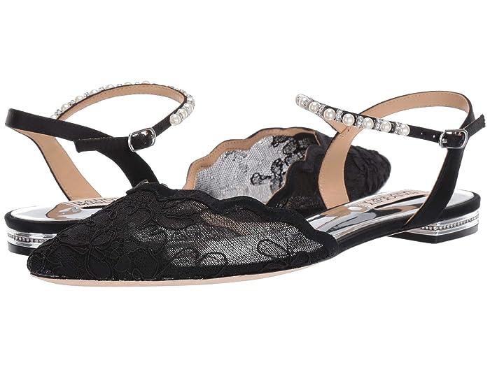Badgley Mischka  Lennon (Black Satin/Lace/Mesh) Womens Dress Sandals