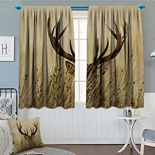 Strongger Antler Decor Thermal/Room Darkening Window Curtains Whitetail Deer Fawn in Wilderness Stag Countryside Rural Hunting Theme Decor Curtains by 72