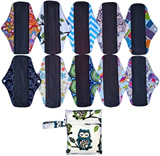 10PCS Charcoal Bamboo Mama Cloth/ Menstrual Pads/ Reusable Sanitary Pads Panty liner (MC10-10)