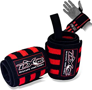 DXCFIT Wrist Wraps For Weightlifting Wrist Straps Gym Wrist Support Wraps with Thumb Loop, Best Lifting Wrist Wraps for St...