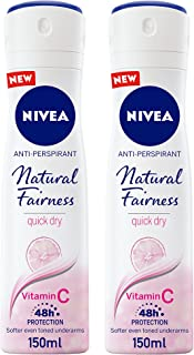 NIVEA Natural Fairness Antiperspirant Spray for Women, 2 x 150 ml