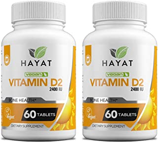 Hayat Vitamins Vegan Natural Vitamin D 2400 IU, D2, Certified Halal (Pack of 2)