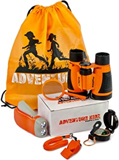 Adventure Kidz - Outdoor Exploration Kit, Children's Toy Binoculars, Flashlight, Compass, Whistle, Magnifying Glass, Backp...