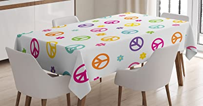 Ambesonne Groovy Tablecloth, Peace Lifestyle Sign Slogan Celebration Merry Jolly Happy Theme Design, Rectangular Table Cover for Dining Room Kitchen Decor, 60