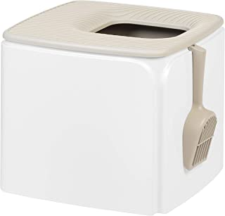 IRIS USA Premium Top Entry Cat Litter Box PRCL-SQ, White