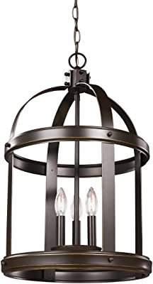 Sea Gull Lighting 5240703-782 Lonoke Medium Three-Light Hall / Foyer Hanging Modern Light Fixture, Heirloom Bronze Finish